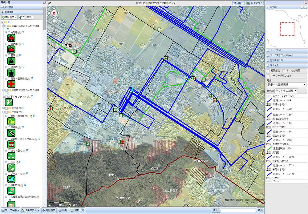 能登川地区洪水浸水度と避難路マップ