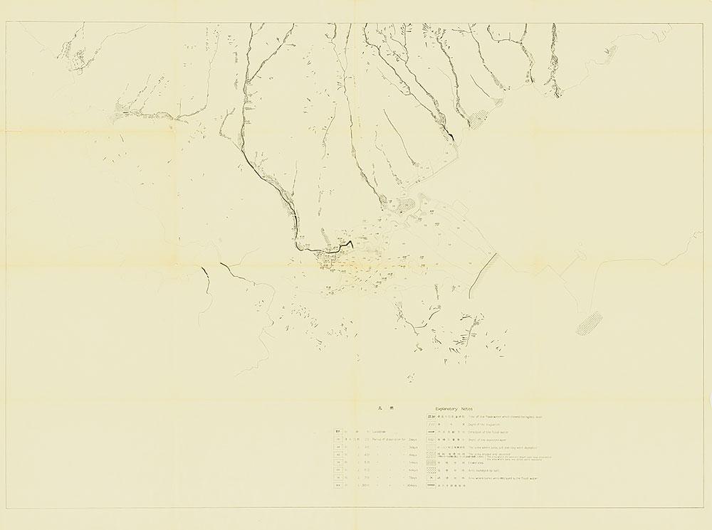 タイトル無し(諫早洪水状況図に山崩れの地点を落としたトレーシングペーパー)