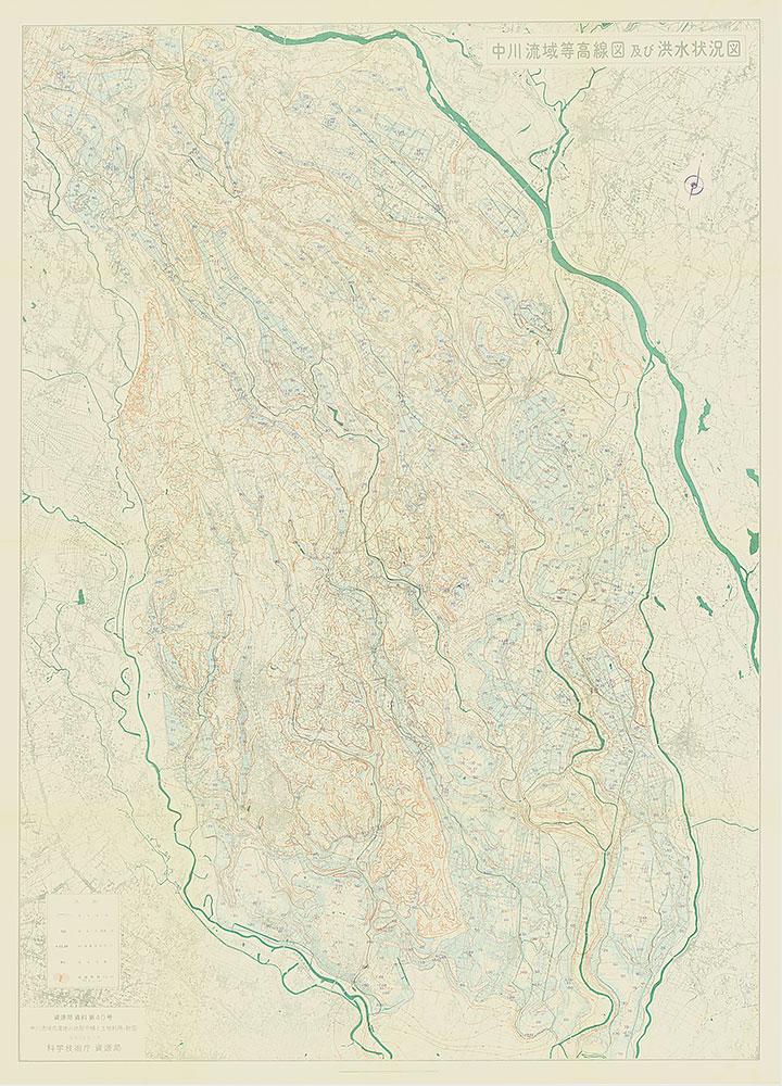 中川流域等高線図及び洪水状況図