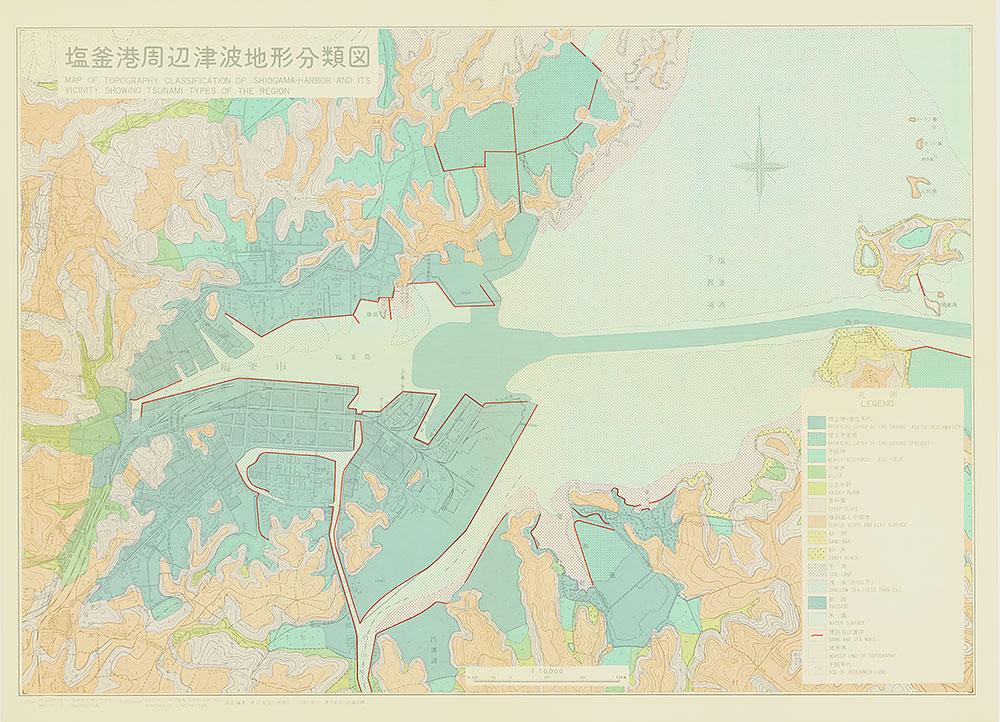 塩釜港周辺津波地形分類図
