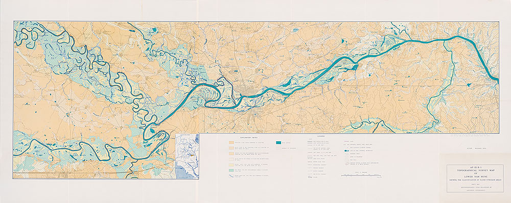 Topographical Survey Map of Nam Gum Showing Classification of Flood-Stricken Areas