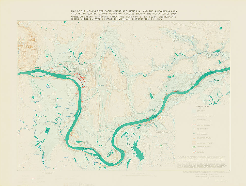 Map of the Mekong River Basin (Vientiane, Nong khai and the Surrounding Area situated immediately down stream from Pa Mong) Showing the Inundation of 1966