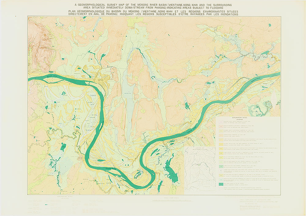 A Geomorphological Survey Map of the Mekong River Basin (Vientiane, Nong khai and the Surrounding Area situated immediately down stream from Pa Mong) Indicating Areas Subject to Flooding