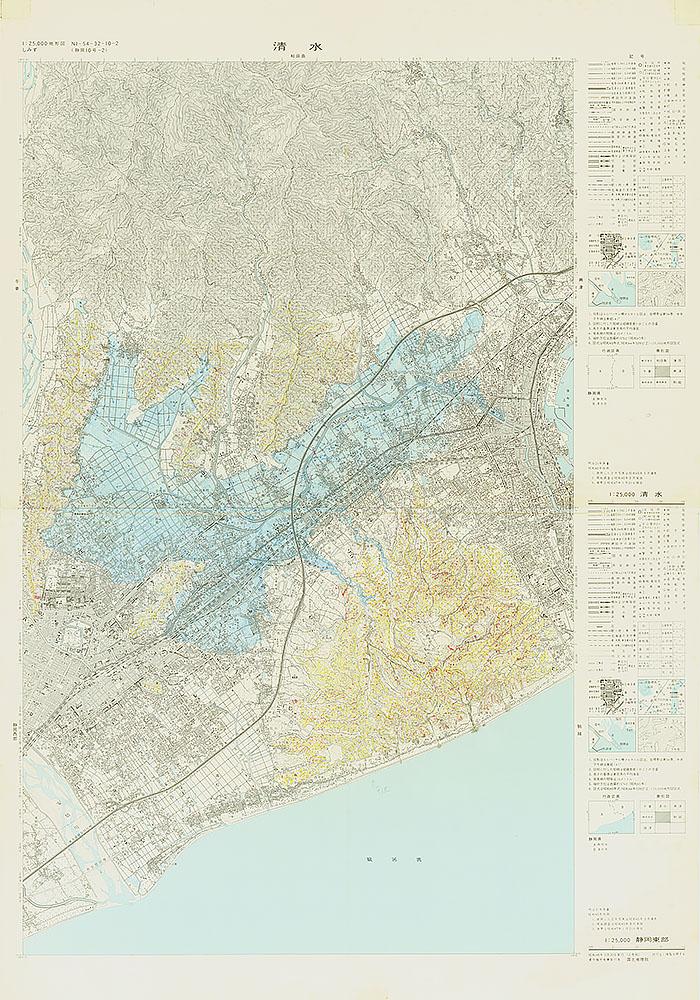 1974.7.7 巴川洪水状況図(静岡東部・清水), (地形図彩色)